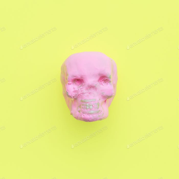 Pinky Skull. Fashion Minimal Candy Color Art