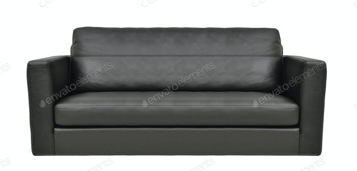 modern black leather sofa isolated