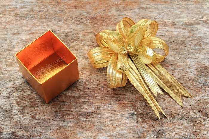 Golden Ribbon and Golden Gift Box