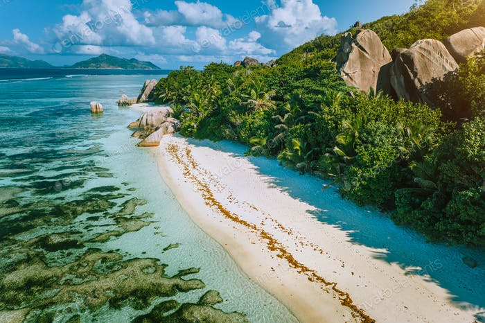 Seychelles, La Digue. Aerial view of beautiful paradise tropical beach Anse Source D Argent in