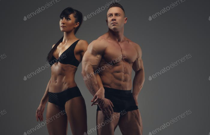Bodybuilder and his girlfriend in underwear.
