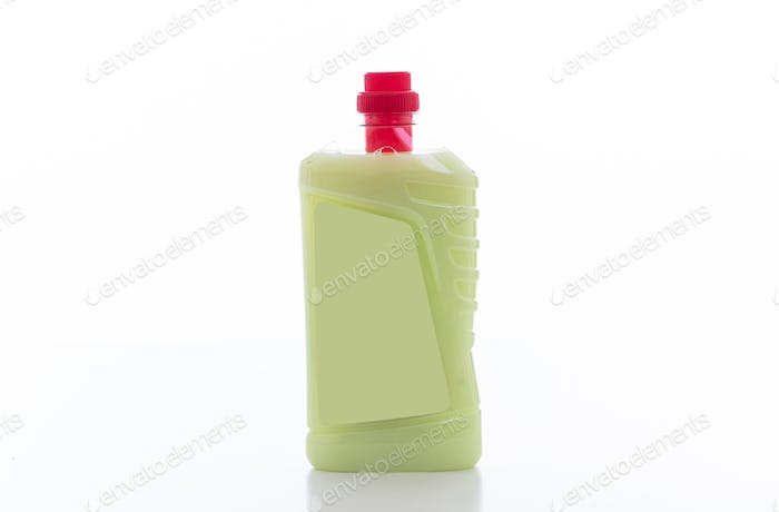 Cleaning detergent container isolated against white background.