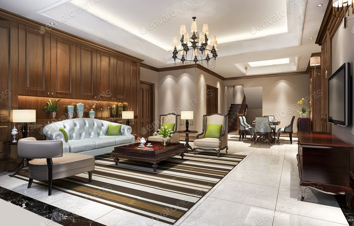 3d rendering classic european dining room and living room with luxury chandelier