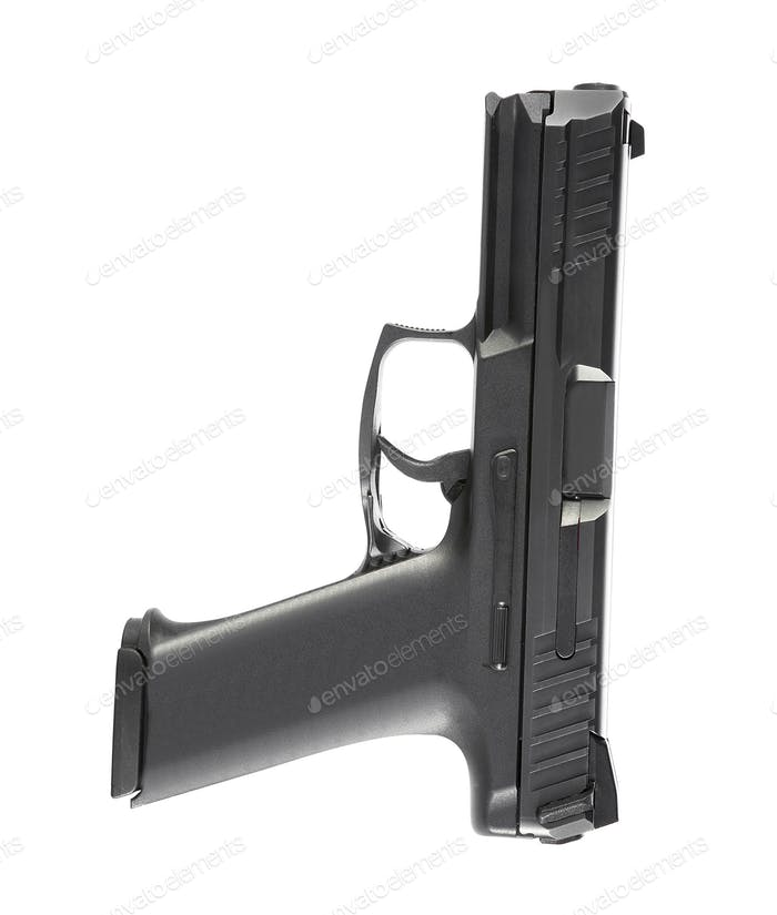 9mm semi-automatic pistol isolated