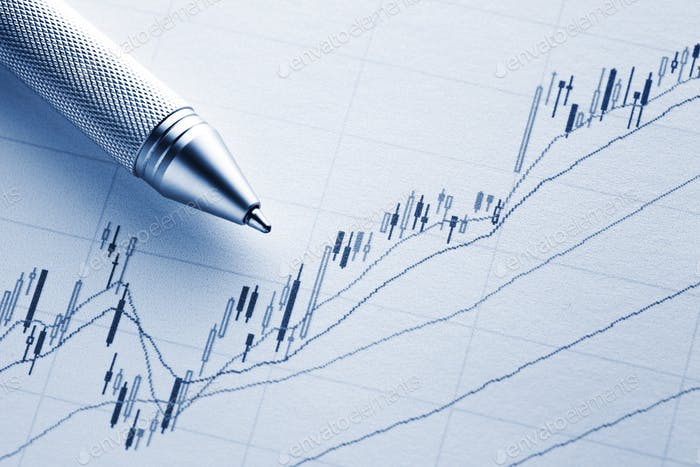 Increasing stock market graph with pen