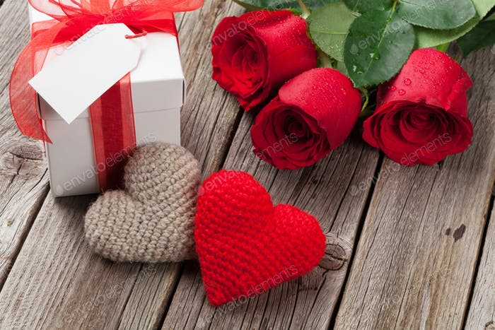 Valentines day gift box, roses and hearts