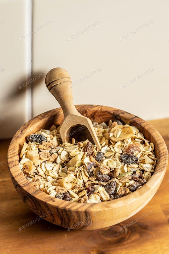 Healthy cereal breakfast. Mixed muesli.