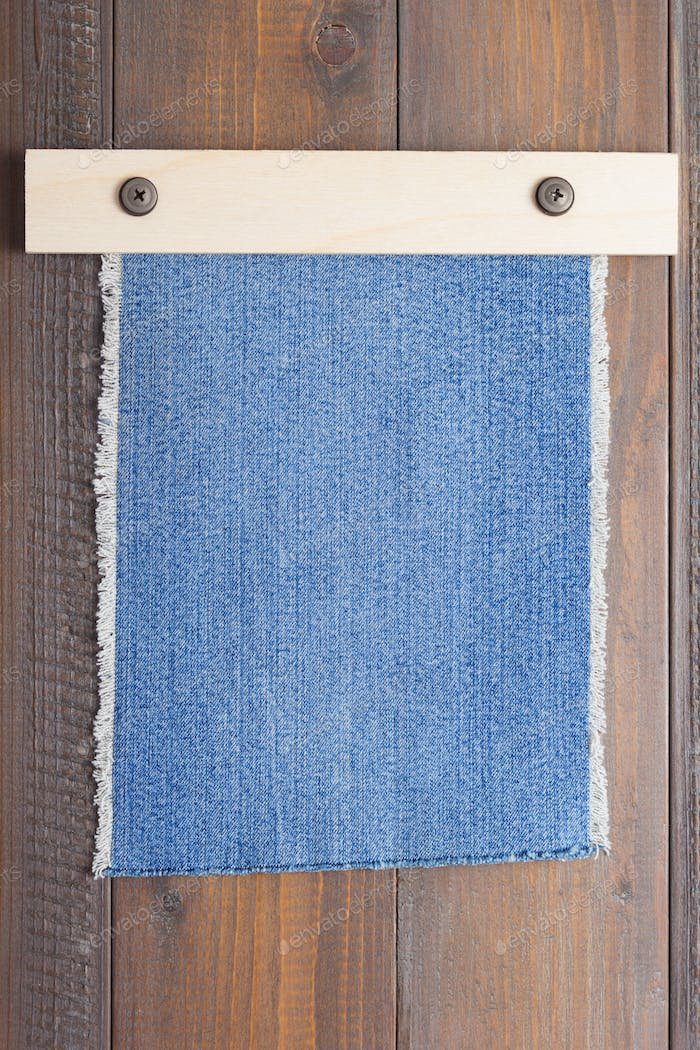 blue jeans texture on wood