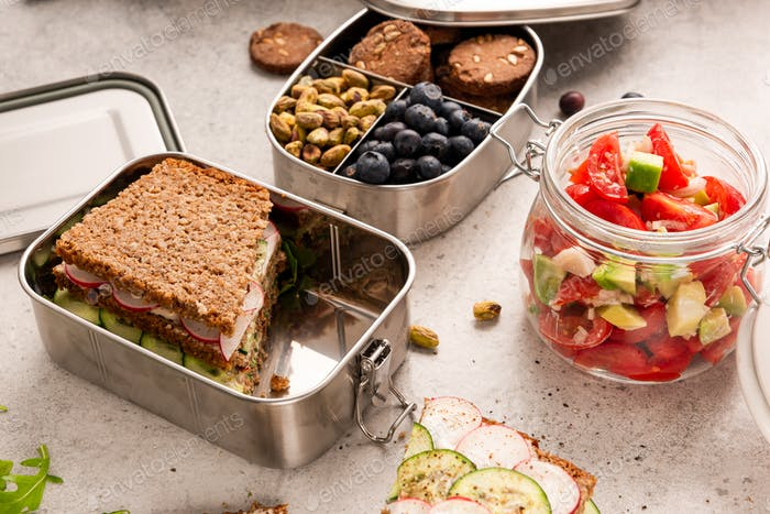 Wholegrain Bread Lunch Packed into Bento or Lunchbox Container