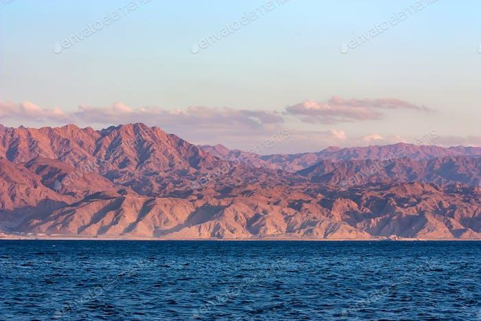 Red Sea rocky coastline in Saudi Arabia