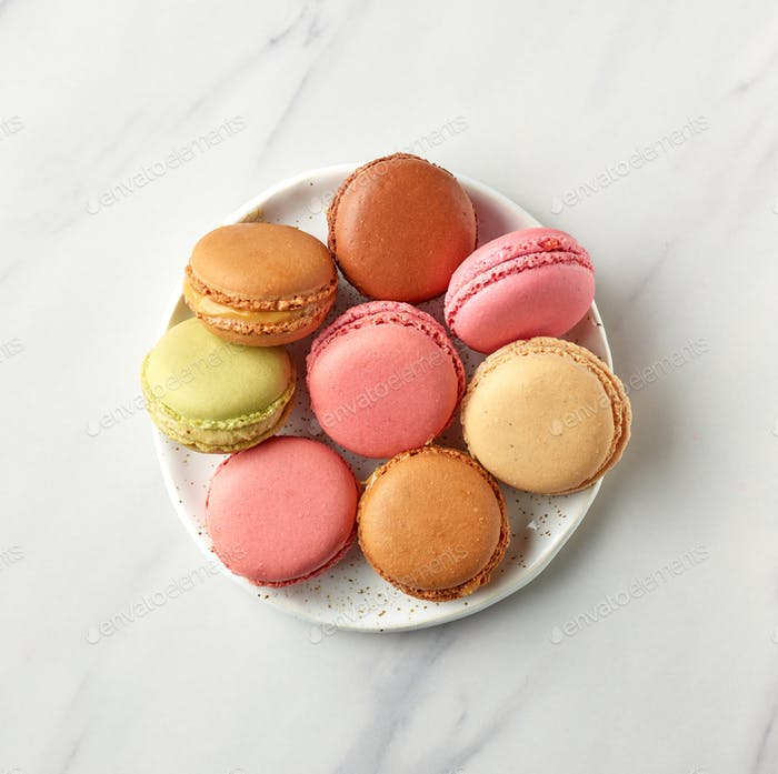 plate of various colorful macaroons