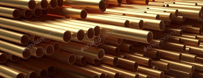 Rohre Rohre Kupfer-Metall, rundes Profil, voller Hintergrund. 3D Illustration