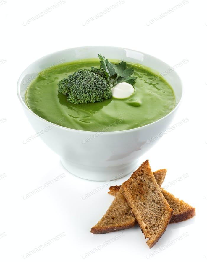 Broccoli cream soup isolated