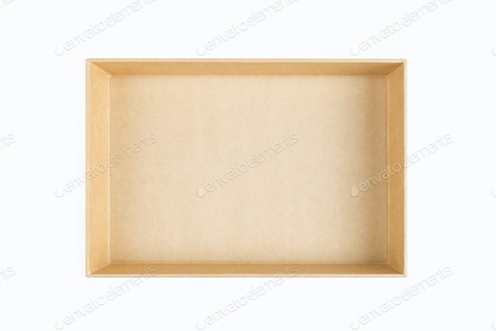 empty kraft paper box isolated