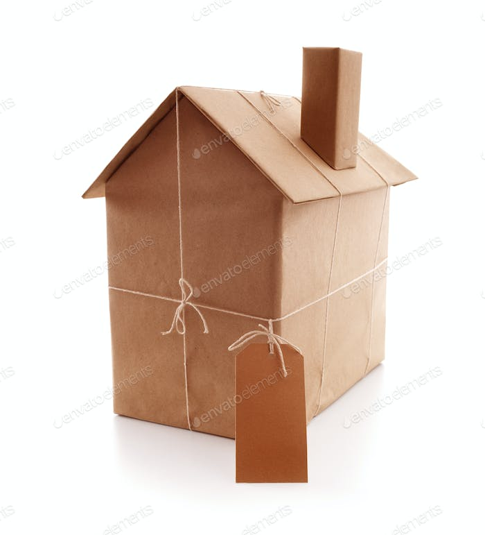 New house wrapped in brown paper