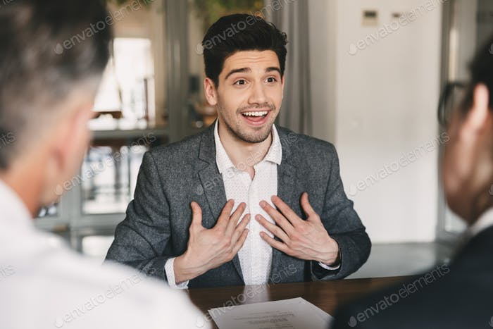 Business, career and placement concept - satisfied caucasian man