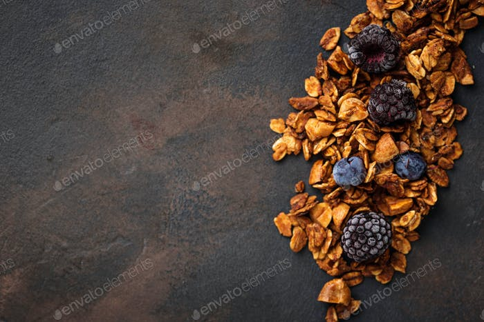 Healthy homemade granola with berries