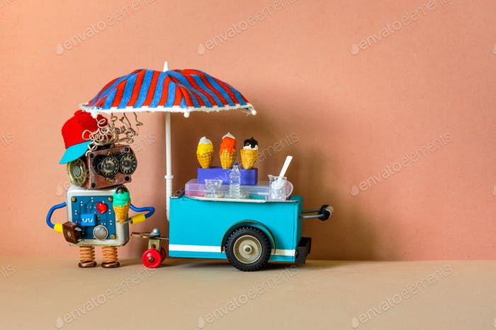 Robot seller and ice cream cart