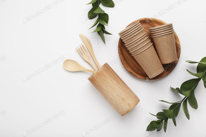 Set of eco friendly wooden and paper cutlery
