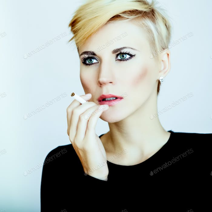 sensual girl with a cigarette
