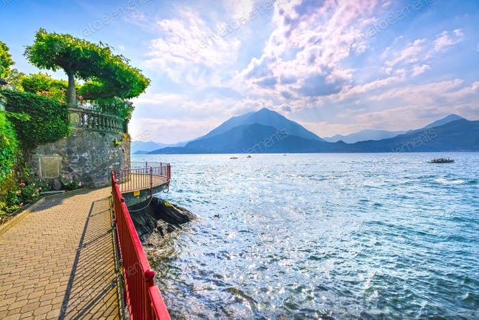 Varenna Walk of Lovers, Como Lake district landscape. Italy, Eur