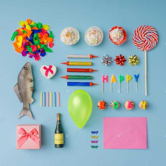 Various birthday party things neatly arranged.