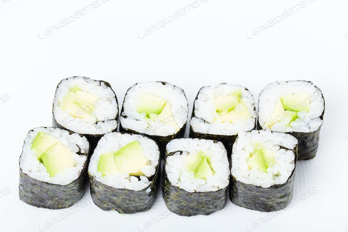 Vegetarian japanese sushi roll with avocado.