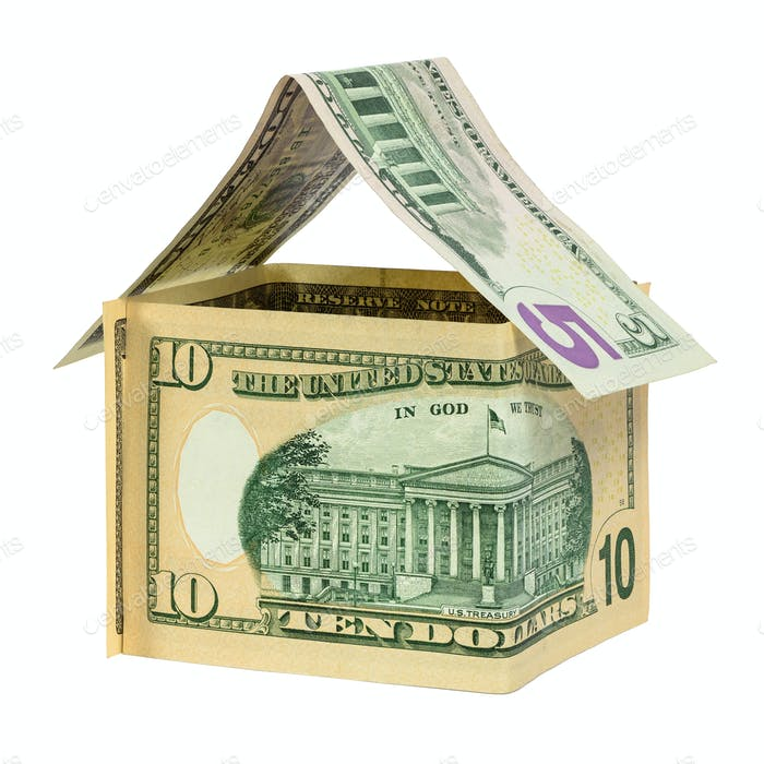 Model house made from dollar banknotes