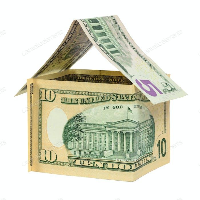Modellhaus aus Dollar-Banknoten
