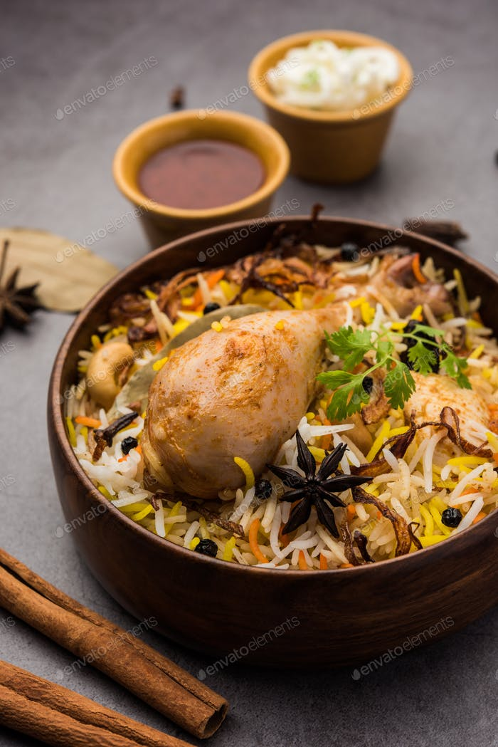 Chicken Biryani with yogurt dip - Popular Indian / pakistani Non vegetarian food