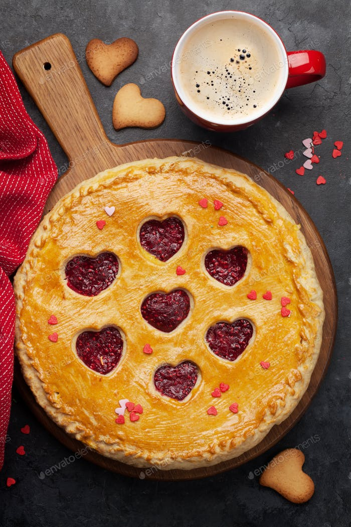 Raspberry cake for Valentine's Day with hearts