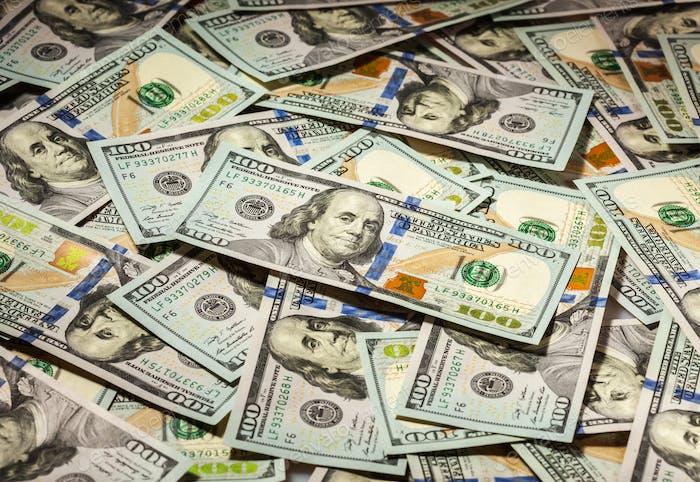 Fondo de billetes de banco de cien dólares