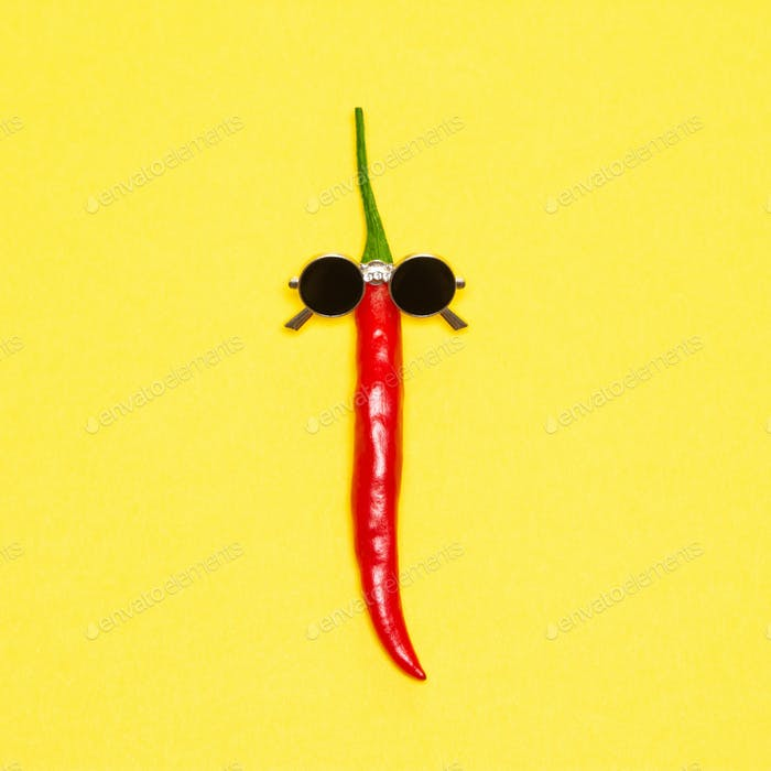 Red chili pepper in sunglasses - cool guy, party goer funny conc