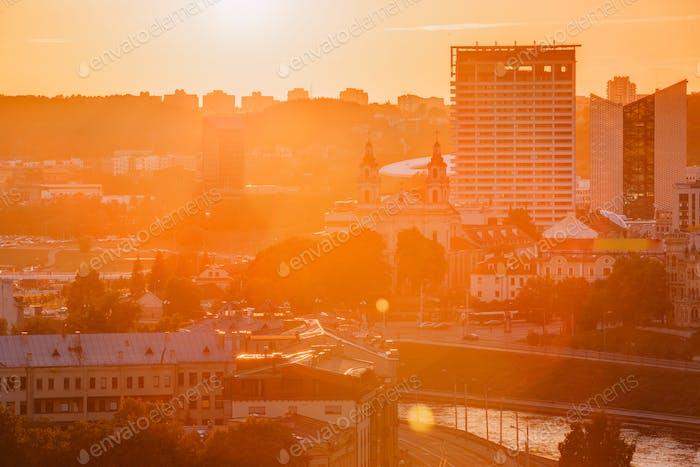 Vilnius, Lithuania. Sunset Sunrise Dawn Over Cityscape. Church O