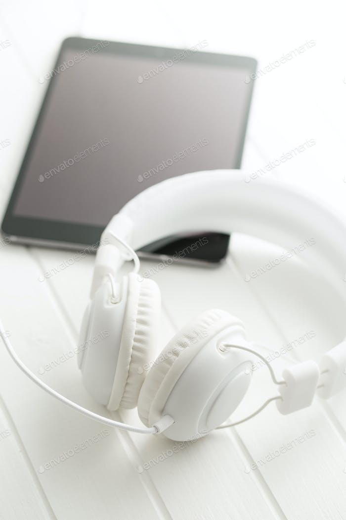 Weiß Vintage Kopfhörer.