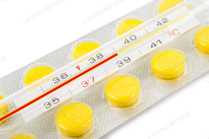Thermometer and tablets