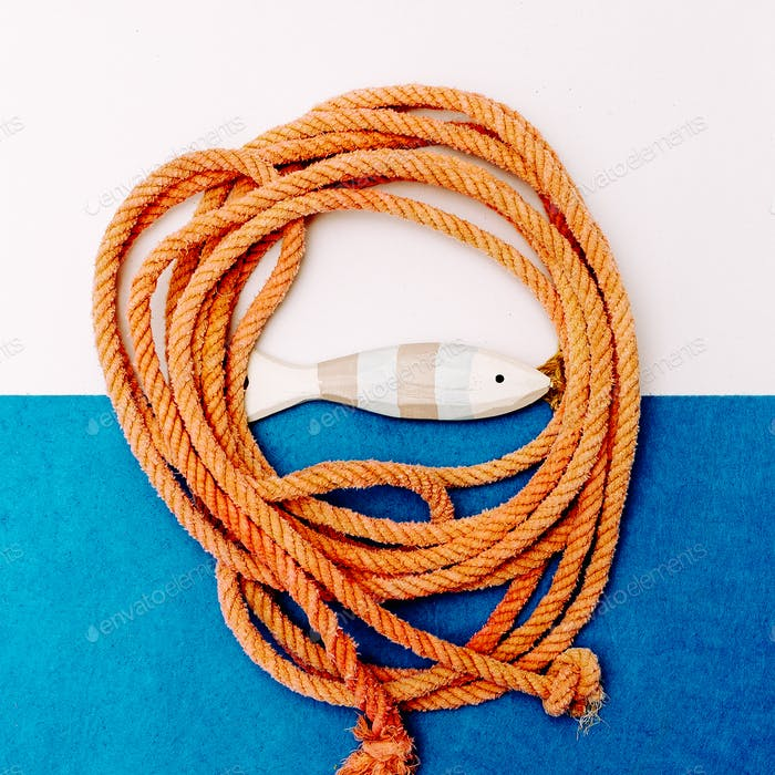 Fish and rope souvenir Minimal art design