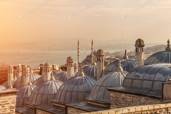 The domes of Suleymaniye Mosque, with the Bosphorus Strait and Galata Bridge in the distance.