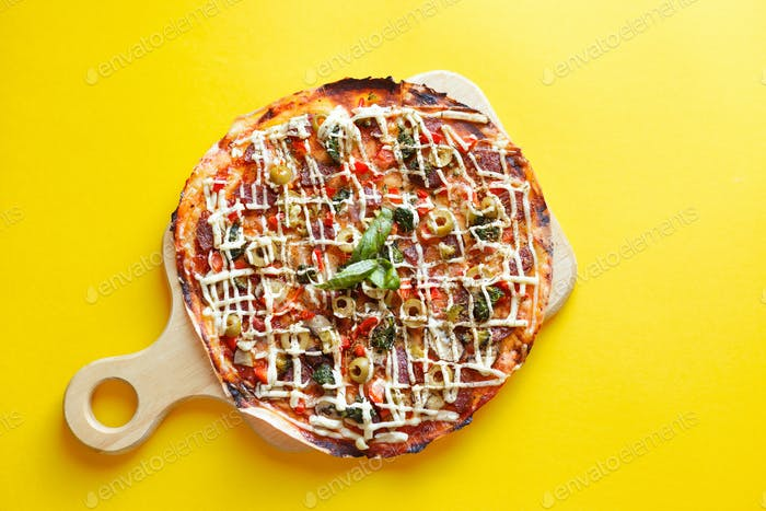top view of pizza isolated and clipping path.