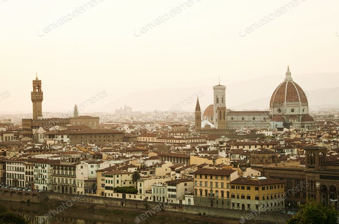 Golden sunset of Florence, Italy.