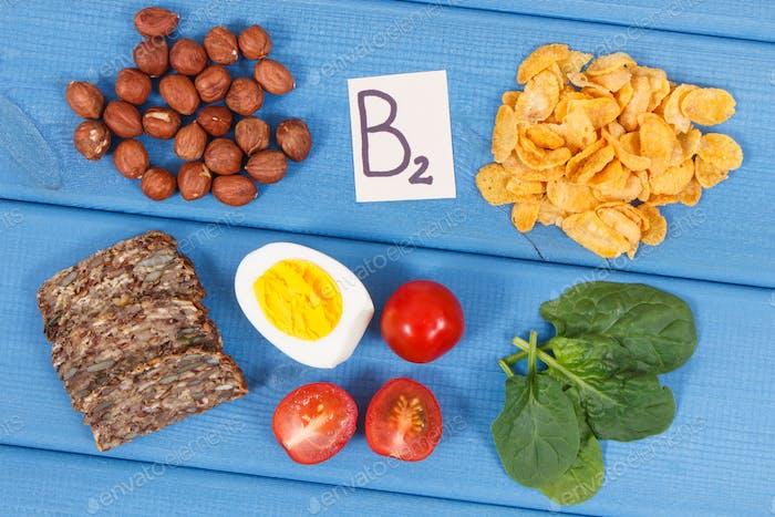 Inhaltsstoffe, die Vitamin B2 und Ballaststoffe enthalten, gesundes Ernährungskonzept
