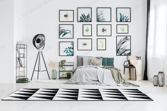 Spacious monochromatic bedroom
