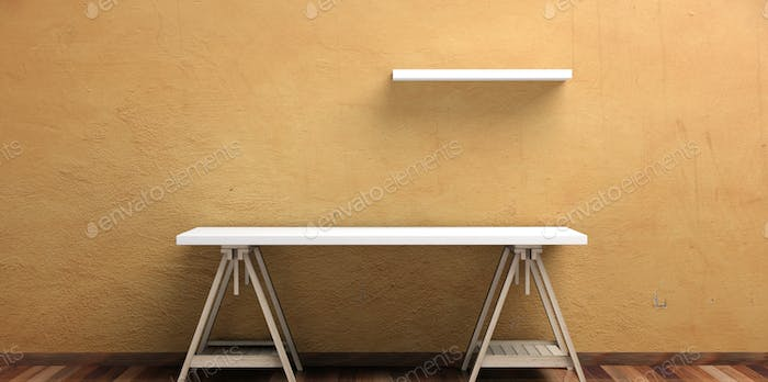 Office desk and self on a wooden floor -  stucco painted wall. 3d illustration