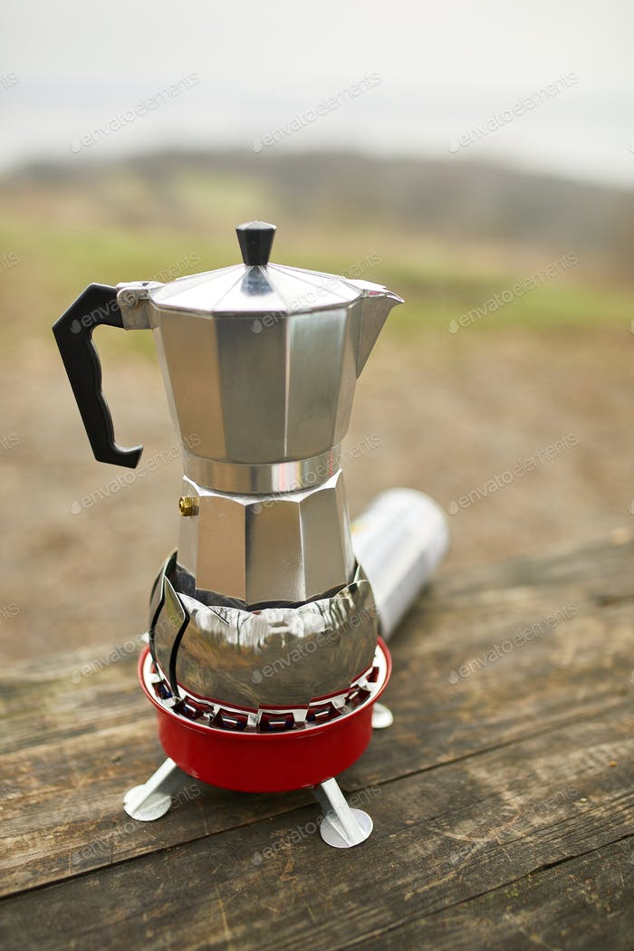 Process of making camping coffee outdoor