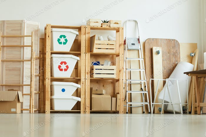 Trash bins on the shelves