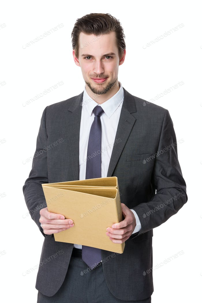 Business man hold with folder