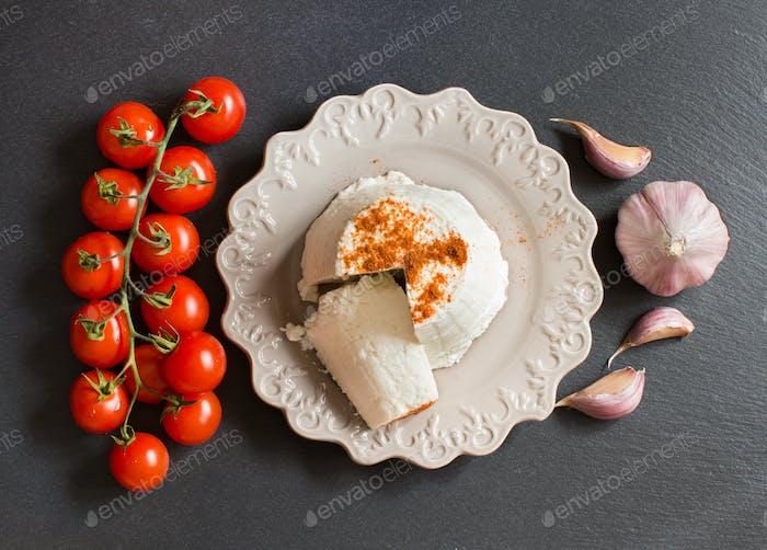 Italian ricotta cheese, garlic and cherry tomatoes