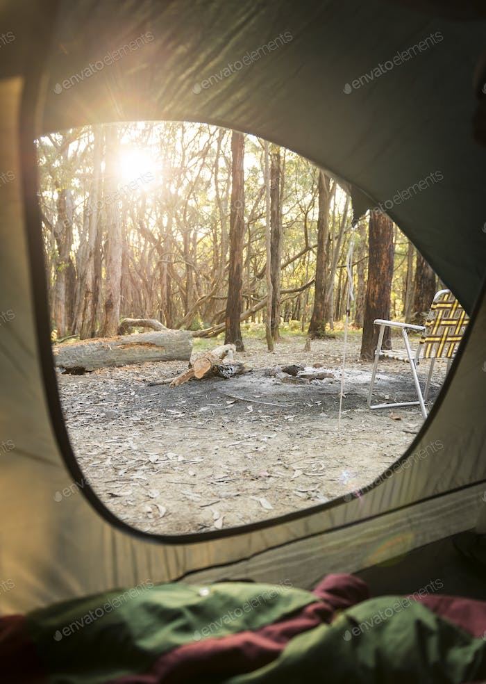 Camping Sunrise Through Tent