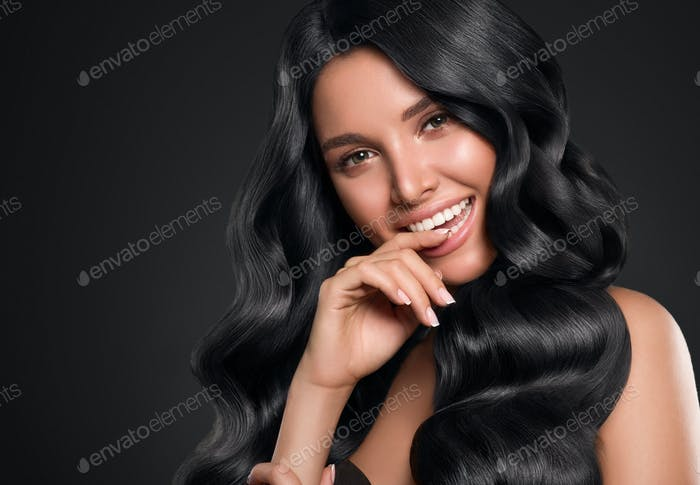 Black hair woman beauty long curly hairstyle