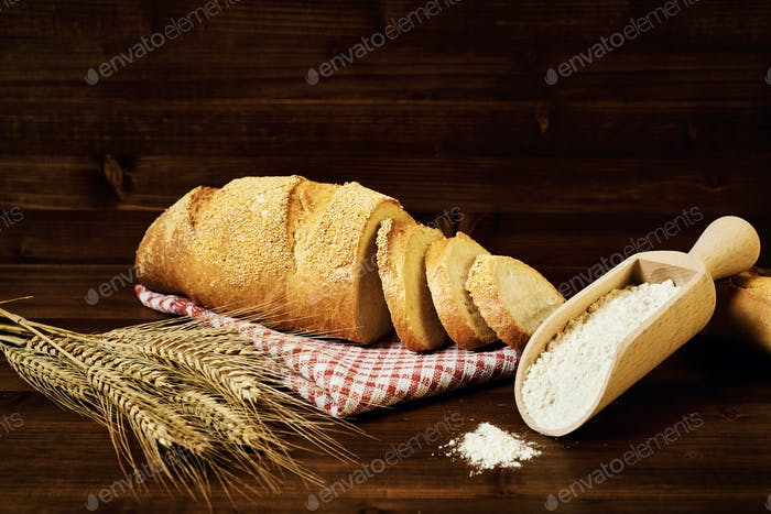Bakery food on wood table